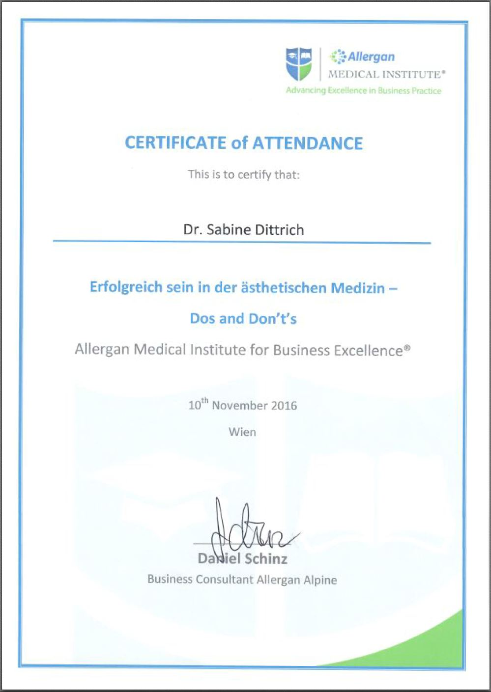 Diplom Ästhetische Medizin - dos and don'ts