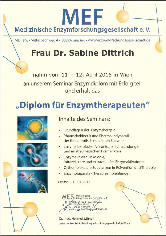 Diplom Enzymtherapeutin
